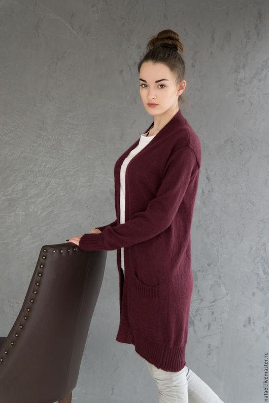 """Кофты и свитера ручной работы. Ярмарка Мастеров - ручная работа. Купить Кардиган """"Бордо"""". Handmade. Однотонный, бордовый, осенняя мода"""