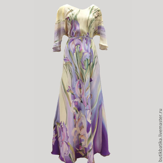 Платья ручной работы. Ярмарка Мастеров - ручная работа. Купить Платье шелковое Лель - сиреневые ирисы. Handmade. Сиреневый, цветы