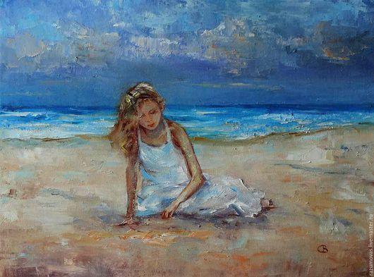 Пейзаж ручной работы. Ярмарка Мастеров - ручная работа. Купить Теплый песок. Handmade. Комбинированный, холст на картоне