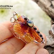 Украшения manualidades. Livemaster - hecho a mano Colgante de mariposa perla de autor polilla lampwork lampwork. Handmade.