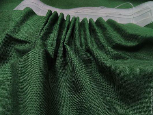 Шторы льняные на тесьме `Состаренная зелень`