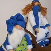 Куклы и игрушки ручной работы. Ярмарка Мастеров - ручная работа Новогодние текстильные куклы Тильда Санта и новогодний ангел. Handmade.