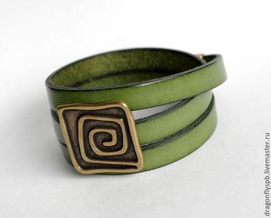 """Браслеты ручной работы. Ярмарка Мастеров - ручная работа. Купить Кожаный браслет """"лабиринт"""". Handmade. Зеленый, яркий браслет"""