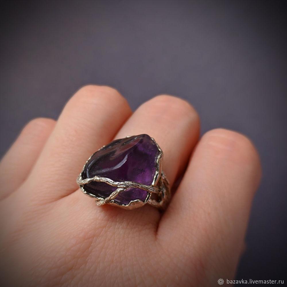 Серебряное кольцо с натуральным аметистом, Кольца, Пенза,  Фото №1