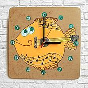 Для дома и интерьера handmade. Livemaster - original item Children`s wall clock wooden Fish - Guitar. Handmade.