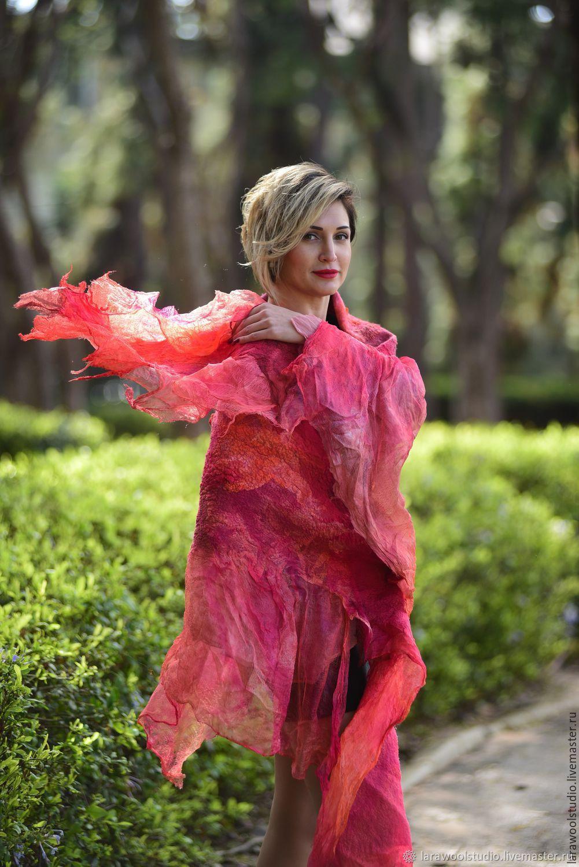"""Red scarf Wool Shawl """"Flame"""", Shawls1, Bat Yam,  Фото №1"""