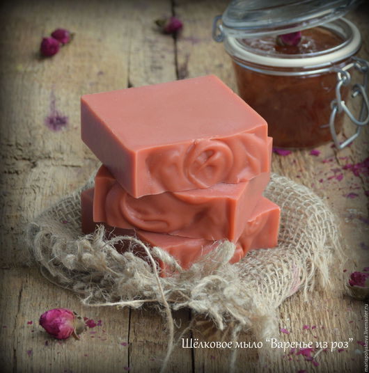 """Мыло ручной работы. Ярмарка Мастеров - ручная работа. Купить Шёлковое мыло """"Варенье из роз"""". Handmade. Коралловый, красный"""