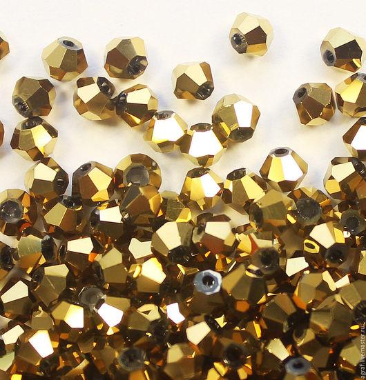 Для украшений ручной работы. Ярмарка Мастеров - ручная работа. Купить Биконусы 4 мм Золотой металлик 10 штук. Handmade.