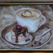 """Картины и панно ручной работы. Ярмарка Мастеров - ручная работа """"Кофе с пирожным"""". Handmade."""