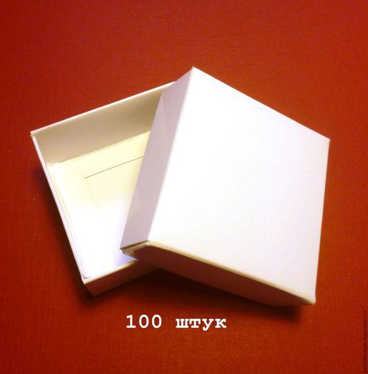 Упаковка ручной работы. Ярмарка Мастеров - ручная работа. Купить 5х5х2 - коробочки крышка-дно, белый мелованный картон, 100 штук. Handmade.