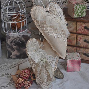 Куклы и игрушки ручной работы. Ярмарка Мастеров - ручная работа Сердечки бохо в стиле Тильда. Handmade.