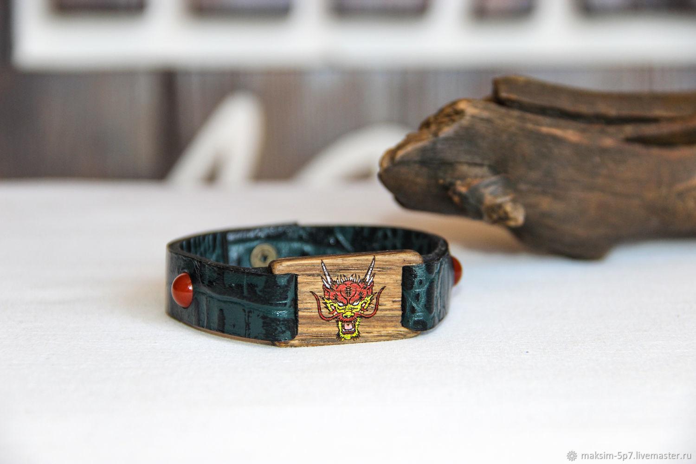 Кожаный мужской браслет браслет с драконом китайский дракон на заказ, Браслет текстильный, Курган,  Фото №1