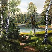 Картины ручной работы. Ярмарка Мастеров - ручная работа Лесное озеро. Handmade.