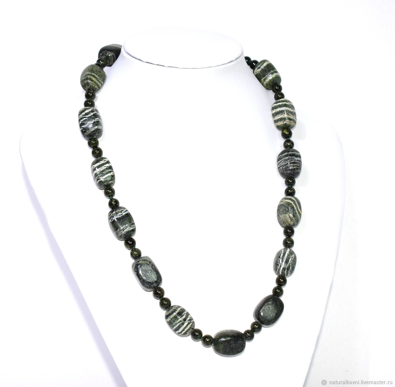 Necklace made of natural green Jasper, Necklace, Moscow,  Фото №1