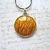 handmade. Livemaster - original item Pendant: Tiger 2, hot enamel, brass. Handmade.