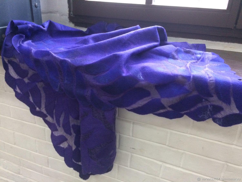 Палантин валяный на шелке Фиолетовый, Палантины, Астрахань,  Фото №1