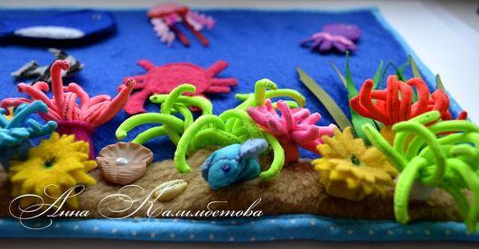 Развивающие игрушки ручной работы. Ярмарка Мастеров - ручная работа. Купить Морские глубины. Развивающее панно.. Handmade. Разноцветный, кит
