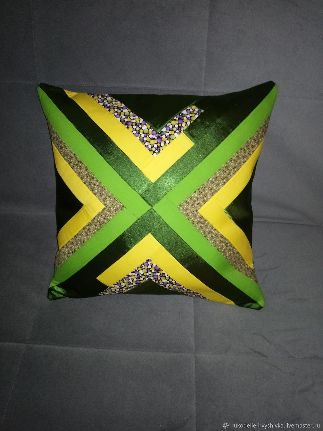 Pillows:Pillow decor (basic tone green) in Patchwork style, Pillow, Gatchina,  Фото №1