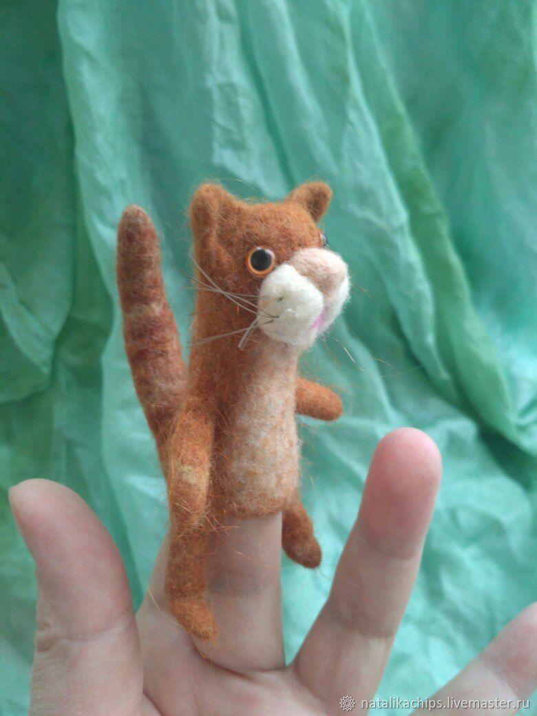 Кот рыжий - пальчиковый Кузя, Куклы, Москва, Фото №1
