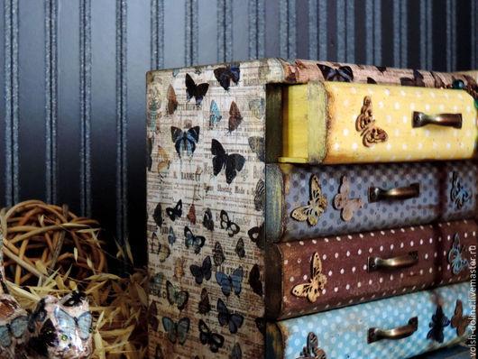 Мини-комоды ручной работы. Ярмарка Мастеров - ручная работа. Купить Порхающие бабочки, мини-комод (декупаж). Handmade. Голубой