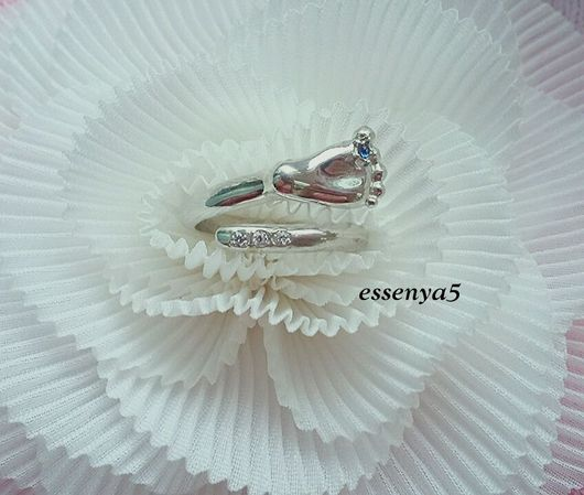 Кольца ручной работы. Ярмарка Мастеров - ручная работа. Купить Кольцо пяточка младенца серебро 925 пробы. Handmade.