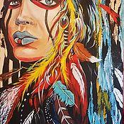 Картины и панно ручной работы. Ярмарка Мастеров - ручная работа Индеец. Портрет в стиле Поп-Арт. Handmade.