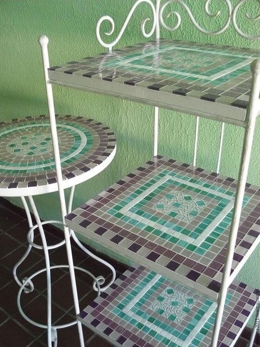 """Мебель ручной работы. Ярмарка Мастеров - ручная работа. Купить Кованая этажерка и столик с мозаикой """"Нежность"""". Handmade. Ковка, дача"""
