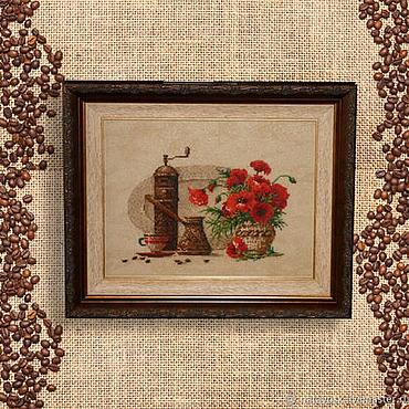 Картины и панно ручной работы. Ярмарка Мастеров - ручная работа Вышивка крестом Кофе с маками. Handmade.