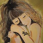 """Картины и панно ручной работы. Ярмарка Мастеров - ручная работа Картина пастелью """"Типпи и лягушка"""". Handmade."""