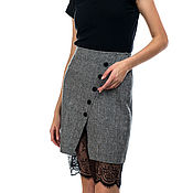 Одежда handmade. Livemaster - original item Skirt with lace wool lined. Handmade.