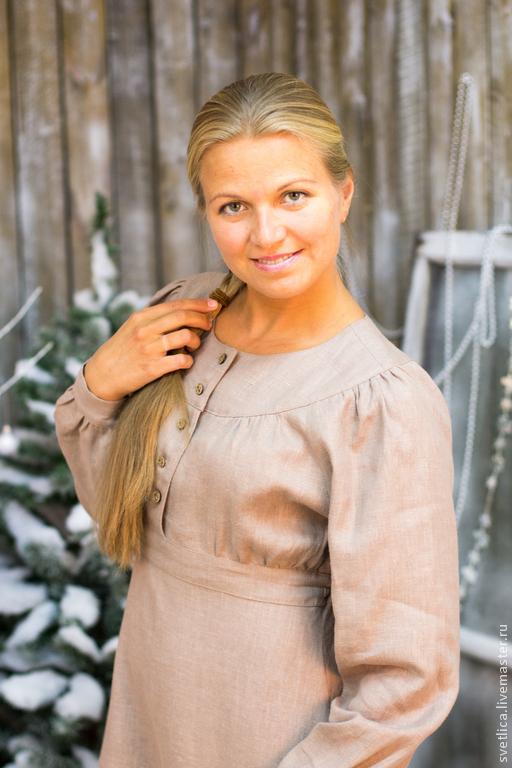 Платья ручной работы. Ярмарка Мастеров - ручная работа. Купить Платье Пелагея с кружевом и воротничком. Handmade. Динное платье