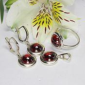 Украшения handmade. Livemaster - original item Veroniya earrings, ring and pendant with corundum in 925 silver. Handmade.