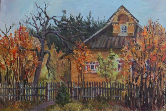 Пейзаж ручной работы. Ярмарка Мастеров - ручная работа. Купить Осень в деревне.. Handmade. Оранжевый, этюд, осень, живопись маслом