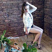 Одежда ручной работы. Ярмарка Мастеров - ручная работа Блузка-рубашка с кружевными вставками. Handmade.