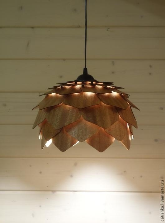 Освещение ручной работы. Ярмарка Мастеров - ручная работа. Купить ЛОТОС. Подвесной светильник из шпона дерева махагон. Handmade.