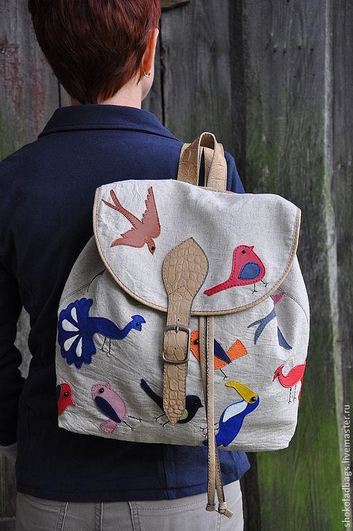 """Женские сумки ручной работы. Ярмарка Мастеров - ручная работа. Купить Льняной рюкзачок с кожей  """" Птичий парадиз"""". Handmade."""