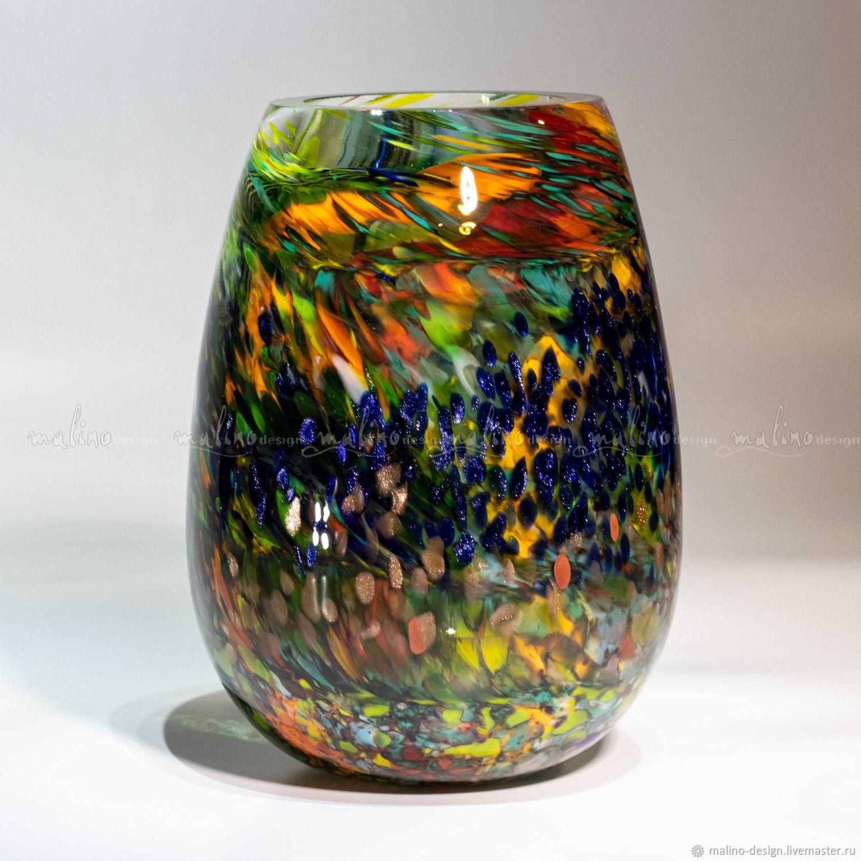 """Стеклодувная ваза """"Синие блики"""" md-vs-mon-blue_glare"""