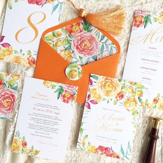 Свадебные аксессуары ручной работы. Ярмарка Мастеров - ручная работа. Купить Акварельные свадебные приглашения в оранжевом цвете Яркое лето. Handmade.