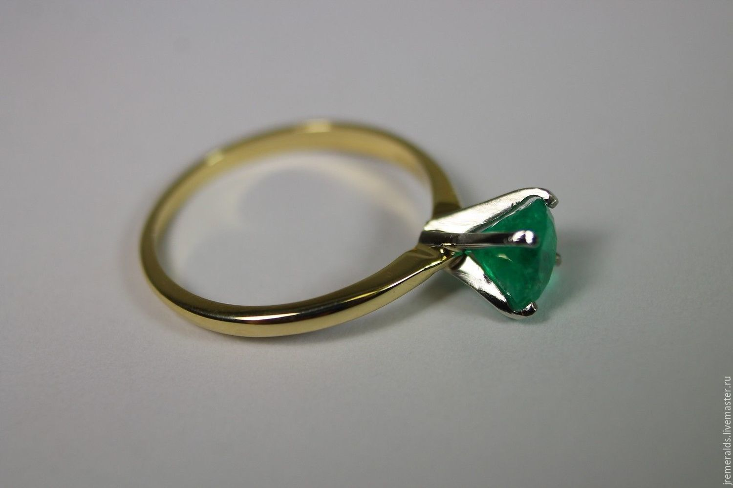 Rings Handmade Livemaster  Handmade Buy 10 Cts Colombian Emerald &  Two Tone