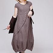 Одежда ручной работы. Ярмарка Мастеров - ручная работа Льняное бохо платье 4-11 умбра. Handmade.