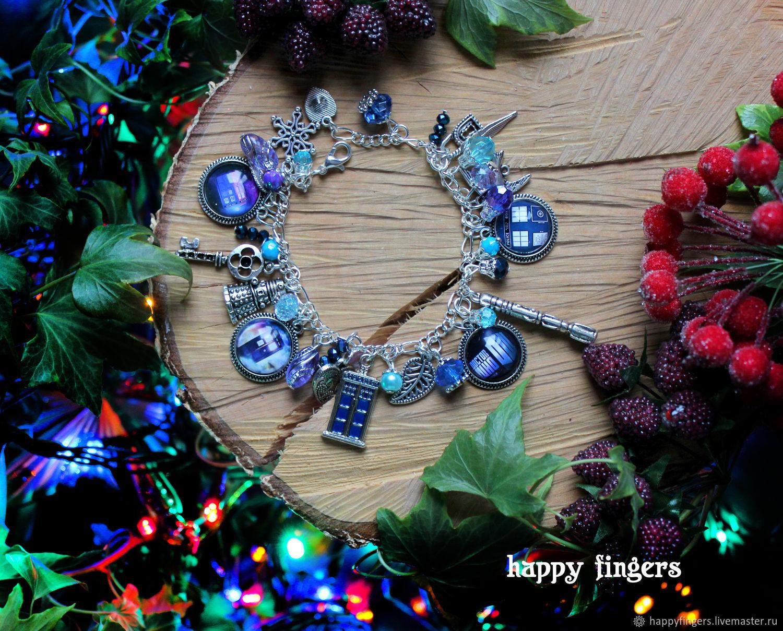 Bracelet Doctor who blue Doctor Who series TARDIS, Bead bracelet, Elektrostal,  Фото №1