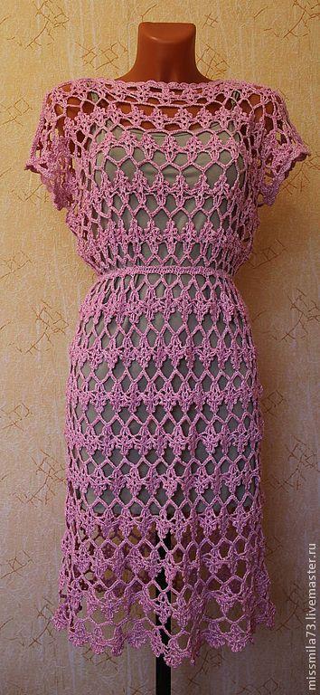 """Платья ручной работы. Ярмарка Мастеров - ручная работа. Купить платье крючком """"ажур-гламурррр"""". Handmade. Розовый, платье коктейльное"""