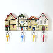 Для дома и интерьера handmade. Livemaster - original item Wooden Key holder Cosy Houses. Handmade.