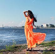 Одежда ручной работы. Ярмарка Мастеров - ручная работа «Оранжевое лето» длинное платье в пол из шифона.. Handmade.