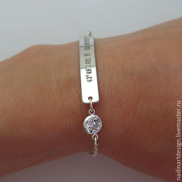 браслет из серебра с кристаллом прекрасный браслет с гравировкой