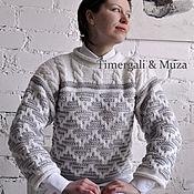 Jumpers handmade. Livemaster - original item Wool Hand Knit Sweater Stylish Two-Tone Jumper. Handmade.