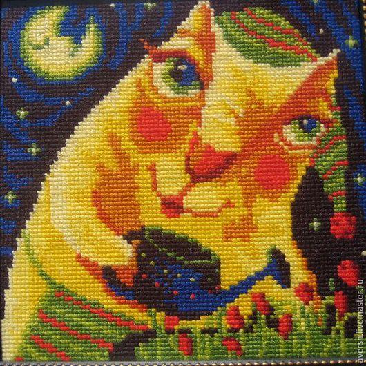 """Для дома и интерьера ручной работы. Ярмарка Мастеров - ручная работа. Купить Вышитая картина """"Волшебный кот"""". Handmade. Синий"""