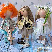 Куклы и игрушки ручной работы. Ярмарка Мастеров - ручная работа Ангелочек с подснежником Текстильные интерьерные куклы ростом 35 см. Handmade.