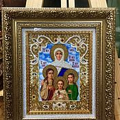 Картины и панно handmade. Livemaster - original item The icon of the Holy martyrs Faith Hope love and their mother Sophia. Handmade.