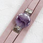 Украшения handmade. Livemaster - original item Ash-pink bracelet with amethyst in soft leather. Handmade.